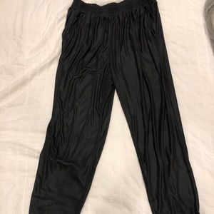 Urban Outfitters black shiny joggers